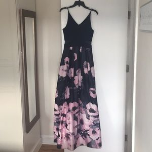 Navy with flowers maxi dress